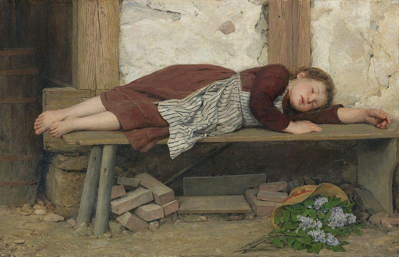 800px-Albert_Anker_-_Schlafendes_Mädchen_auf_einer_Holzbank