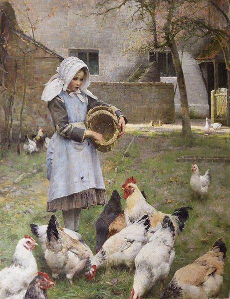 461px-Feeding_the_chickens,_by_Walter_Frederick_Osborne
