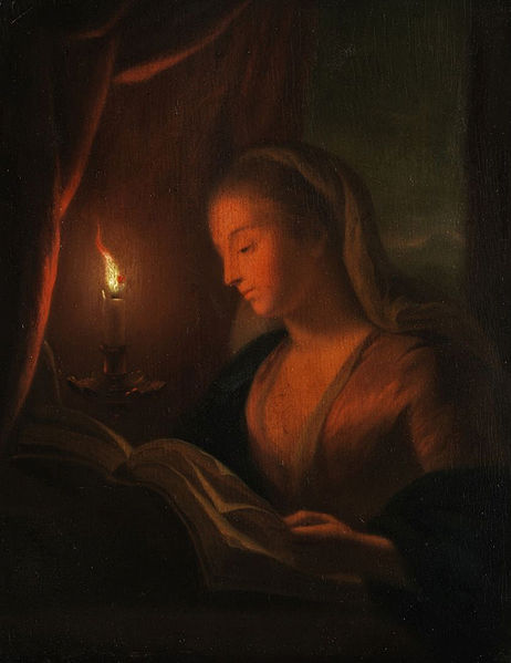 462px-Young_woman_reading_(in_the_style_of_Petrus_van_Schendel)