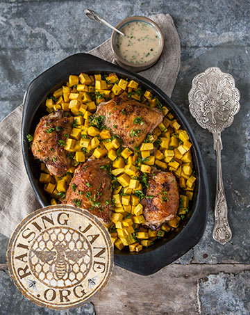 Roasted Chicken & Buttercup Squash with Herbed Honey Mustard